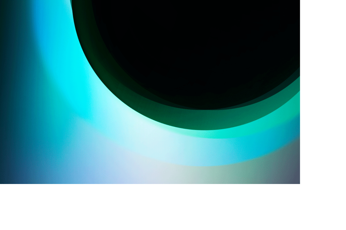 Graphic of back orb and blueish green strokes
