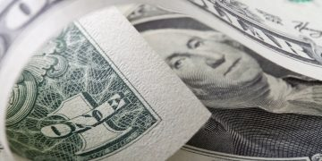 Stock photograph of a one dollar bill.