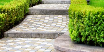 Stone steps with shrubs and grass on the sides.