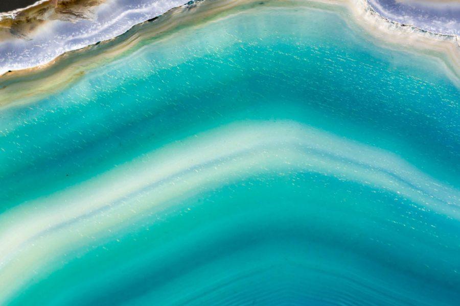 Close-up shot of a blue geode.